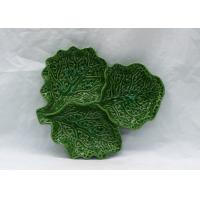 Buy cheap Ceramic Cabbage Plate Green Leaf 3 Section Serving Platter for Table Restaurant from wholesalers