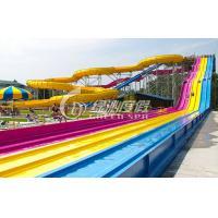 Giant Interactive Racing Fiberglass Water Slides with Multi Lane , Customized