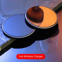 Buy cheap 10W Round Desktop Pad LED Light Wireless Phone Charger For Iphone X 8 Plus from wholesalers