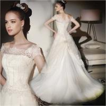 Buy cheap Luxury Ivory Bateau Short Sleeve Beaded Lace Wedding Dress A-Line Bride Gown Vestido De Noiva Custom Make from wholesalers