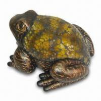 Buy cheap Resin Frog Figurine with Yellow Glass Mosaic on the Back and Gold Brush Finish from wholesalers