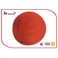 Buy cheap 100% Wool orange knit beret hat little bead for season autumn from wholesalers