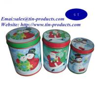 Buy cheap Gift Set of 3 Round Tin Metal Box with Slip Cover, Gift Tin Box Set for Christmas from wholesalers