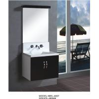Buy cheap Floating wall cabinet acrylic - resin integrated sink basin , black bathroom wall cabinet NON Drawers from wholesalers