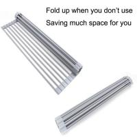 Buy cheap Stainless Steel Foldable Collapsible Over The Sink Roll Up Dish Drying Rack from wholesalers