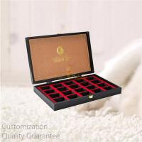 Buy cheap Custom Personalized Stamped Logo Black MDF Wooden Tea Accessories Bags Display Storage Gift Box with Metal Closure from wholesalers