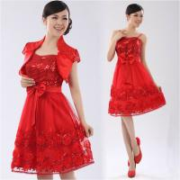Buy cheap Chiffon Strap Long Sleeve ladies dress suits for weddings , Red from wholesalers