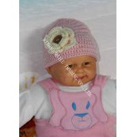 Buy cheap Pink Baby Girls Crochet Winter Hat With Flower Applique / Buttons from wholesalers