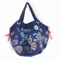 Buy cheap Canvas Shoulder Bag with Ribbon on Side and Floral Design, Suitable Ladies from wholesalers