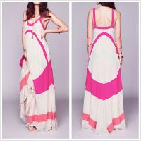 Buy cheap Fashion clothing girls narrow strap maxi dress with color panels from wholesalers