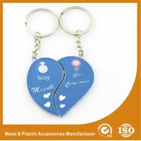 China Blue Personalized Heart Keychain Custom Metal Keychains For Birthday Keyring on sale