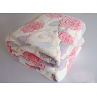 Buy cheap Double Sided Embossed Winter Fall Flannel Plush Blanket With Rose Flower Printed from wholesalers