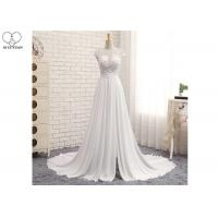 Buy cheap High Slit A Line Bridal Gowns / Cream Colour Wedding Gown Open Back Pleated Tail from wholesalers