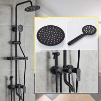 China Antique Black Baking Finished Brass Bathroom Waterfall Shower Tap Set With Bidet Tap TFB0428 on sale