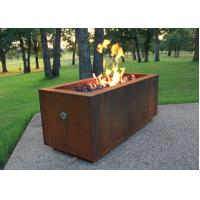Rectangular Shape Corten Steel Fire Pit For Patio Heating Weathering Resistant