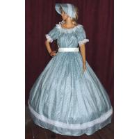 Buy cheap Civil War Dress Wholesale XXS to XXXL CIVIL WAR SASS DICKENS VICTORIAN Aqua Print Costume Dress Gown with Bonnet Hat from wholesalers