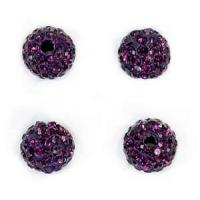 Buy cheap Enevironmental beautiful 10mm purple color Pave Crystal Disco Ball rondelle Beads from wholesalers