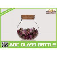 Buy cheap High quality fat clear glass storage jar with cork from wholesalers