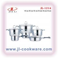 Buy cheap cut edge shape kitchen cookware set with stainless steel handle cooking pot satin finished from wholesalers