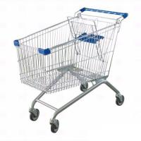 Buy cheap Steel Material Unfolding Supermarket Trolleys Wire Shopping Basket With Wheels from wholesalers