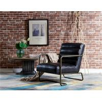 Industrial Wood Back Leather Leisure Chair Old Finish Iron