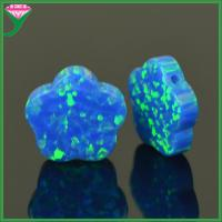 Buy cheap OP05 blue pacific synthetic 5 leaves flower shape loose opal gemstone for Pendant Necklace from wholesalers