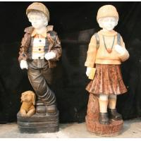 China colorful marble boy & girl sculpture on sale