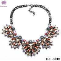 Buy cheap Fashion flowers lady bright beads diamond necklace exaggerated flower necklace from wholesalers