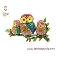 Buy cheap Brass brooch by Sweet & cute Owl family sitting on tree with multi color crystals glued on from wholesalers