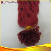 Buy cheap Soft / Thin Red Pre Bonded Hair Extensions Big Wave For Ladies from wholesalers