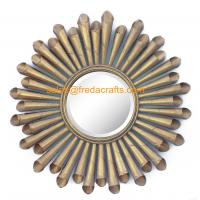 Buy cheap Gold Leaf Finish Metal Roll Decorated Living Room Wall Mirror For Home Decoration from wholesalers