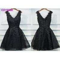 Buy cheap Homecoming Black Lace Cocktail Dress / Beach Sleeveless Short Cocktail Dresses from wholesalers