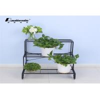 Buy cheap Removable Three Layer Flower Pot Storage Rack Wrought Iron Green Space Style from wholesalers