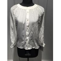Buy cheap White Silk Shirt Blouses , Breathable Women Long sleeve crew neck  Blouses from wholesalers