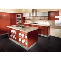 Buy cheap Red Oak Color Wood Veneer Kitchen Cabinets Stainless Steel Sink And Faucet from wholesalers