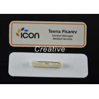 Buy cheap Customized Gloss Varnish White Magnetic Plastic Name Badges With Pin from wholesalers