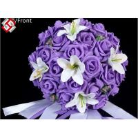 Buy cheap Artificial wedding decor rose lily mixed bridal bouquet from wholesalers