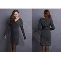 Buy cheap Solid Color chunky knit sweaters for women , V Neck Hooded Lady Pullover Dresses from wholesalers