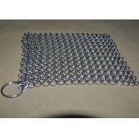 Buy cheap 4*4 Rectangle Chainmail Cast Iron Pan Scrubber For Clean Cookware , Food Grade from wholesalers
