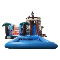 Buy cheap SGS PVC Tarpaulin Pirate Ship Inflatable Water Slide With Pool from wholesalers
