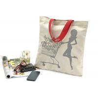 Buy cheap Canvas portable shopping bag with shoulder belt , printed reusable shopping bags from wholesalers
