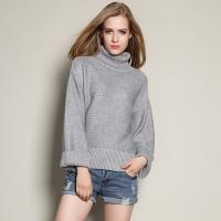 Buy cheap High Neck Design Wool Sweaters Womens Loose Fit Grey Cashmere Sweater from wholesalers