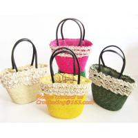 Buy cheap Fashion Straw Beach Bag Summer Weave Woven Women Shoulder Bags Straw Handbags with Ribbons from wholesalers