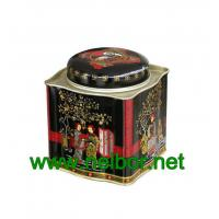 Buy cheap Airtight tea tin container tea caddy tea box tea canister with wave pattern sides from wholesalers