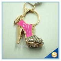 Buy cheap Rhinestone High Heeled Shoes Connecting Metal Key Chain Metal Charm Pendant Purse Bag Key Ring from wholesalers