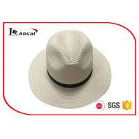 Buy cheap Natural Color Wide Brimmed Straw Hat , 100% Paper Plait Ladies Summer Hats With Black Band from wholesalers