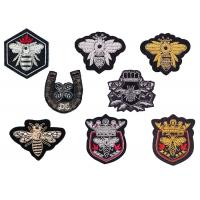 Buy cheap Indian silk gold silver shield crown horseshoe bee shape uniform club logo hand-embroidered  badge patch from wholesalers