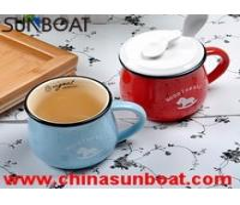 Buy cheap cast iron wide jar customized logo printed porcelain enamel milk mug product