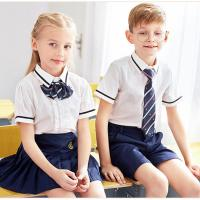 Buy cheap Kids British Kindergarten primary school uniform White Short Sleeve Shirt Sets Design from wholesalers