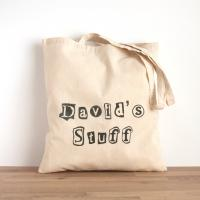 Buy cheap Personalised bag with newspaper cutout font - cotton hand printed bag - shopping bag, libr from wholesalers